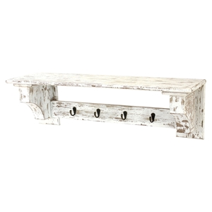 Wood Shelf with 4 Hooks - Rustic White (Set of 2)