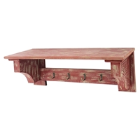 Wood Shelf with 4 Hooks - Rustic Red (Set of 2)