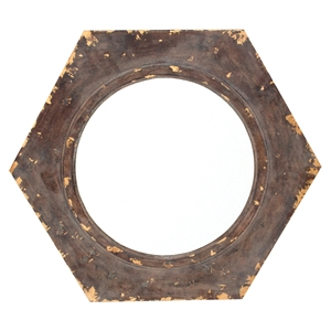 Wood Wall Mirror - Hexagon