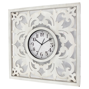 Wall Decor with Clock - White (Set of 4)
