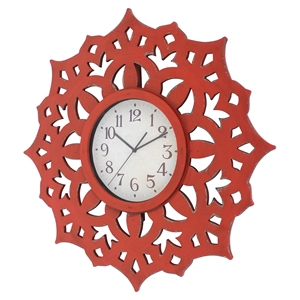 Wall Decor with Clock - Red (Set of 4)