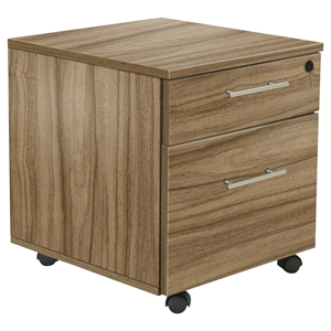 100 Series Mobile Pedestal - 2 Drawers, Walnut