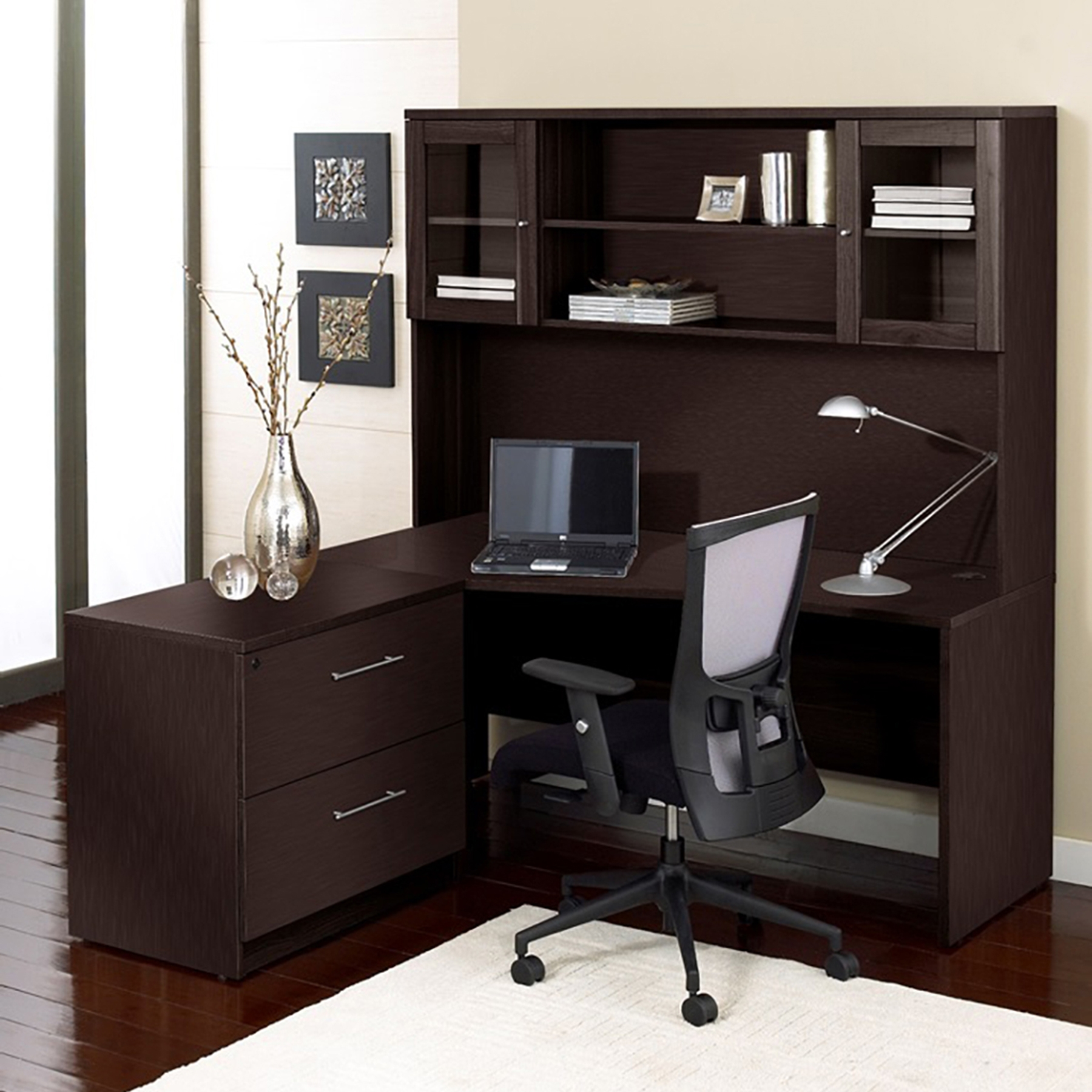 100 Series Corner L Shaped Desk   Hutch, Lateral File, Left Side   UNIQ ...
