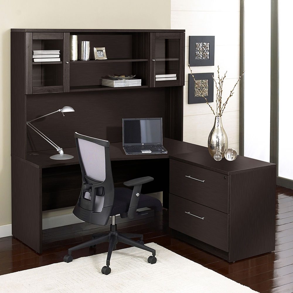 100 series corner l shaped desk hutch lateral file right side dcg stores. Black Bedroom Furniture Sets. Home Design Ideas