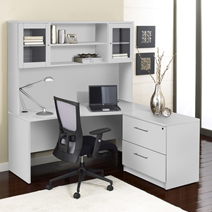 100 Series Corner L Shaped Desk - Hutch, Lateral File, Right Side