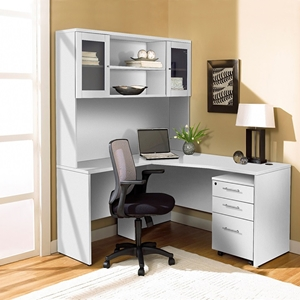 100 Series Corner L Shaped Desk - Hutch, Mobile Pedestal, White