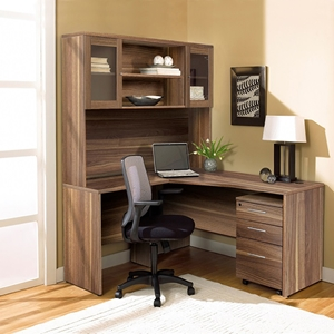 100 Series Corner L Shaped Desk - Hutch, Mobile Pedestal, Walnut