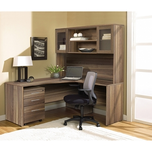 100 Series Corner L Shaped Desk - Hutch, Mobile Pedestal, Right Side