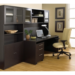 100 Series Executive Office Desk - Hutch, Bookcase, Mobile Pedestal