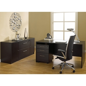 100 Series Executive Office Desk - Credenza, Mobile Pedestal