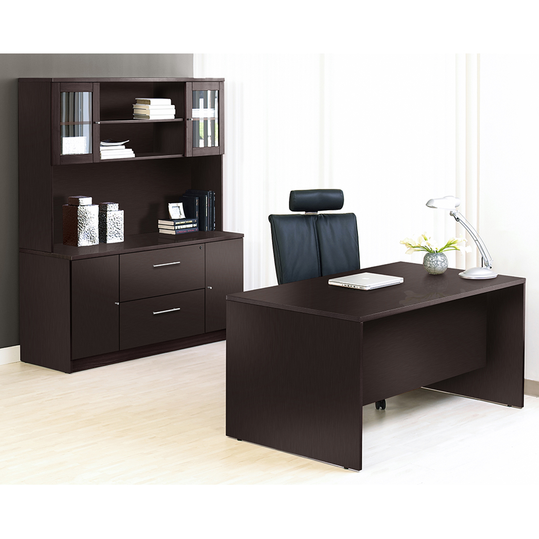 Ordinaire 100 Series Executive Office Desk   Credenza, Mobile Pedestal, Hutch    UNIQ 1C100009M ...