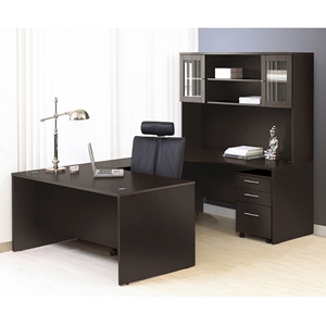 100 Series Executive Left Desk - Hutch, Espresso
