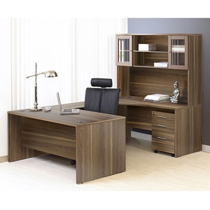 100 Series Executive Left Desk - Hutch, Walnut