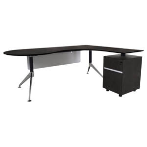 300 Series Executive Teardrop Desk - Right Return Pedestal, Espresso