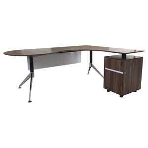 300 Series Executive Teardrop Desk - Right Return Pedestal, Walnut