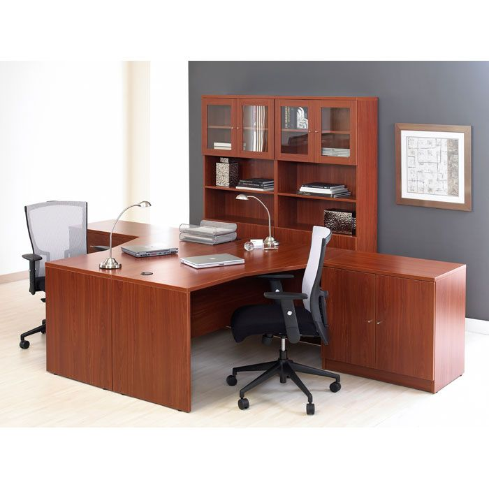 Pro X T-Shaped Workstation with Bookcase and Cabinet - uniq-PRO-X-COMBO-11