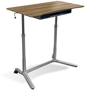 Mobile Sit & Stand Desk - Adjustable Height, Walnut