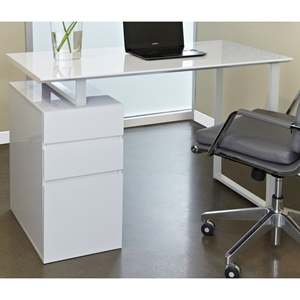 Contemporary Pedestal Desk - White
