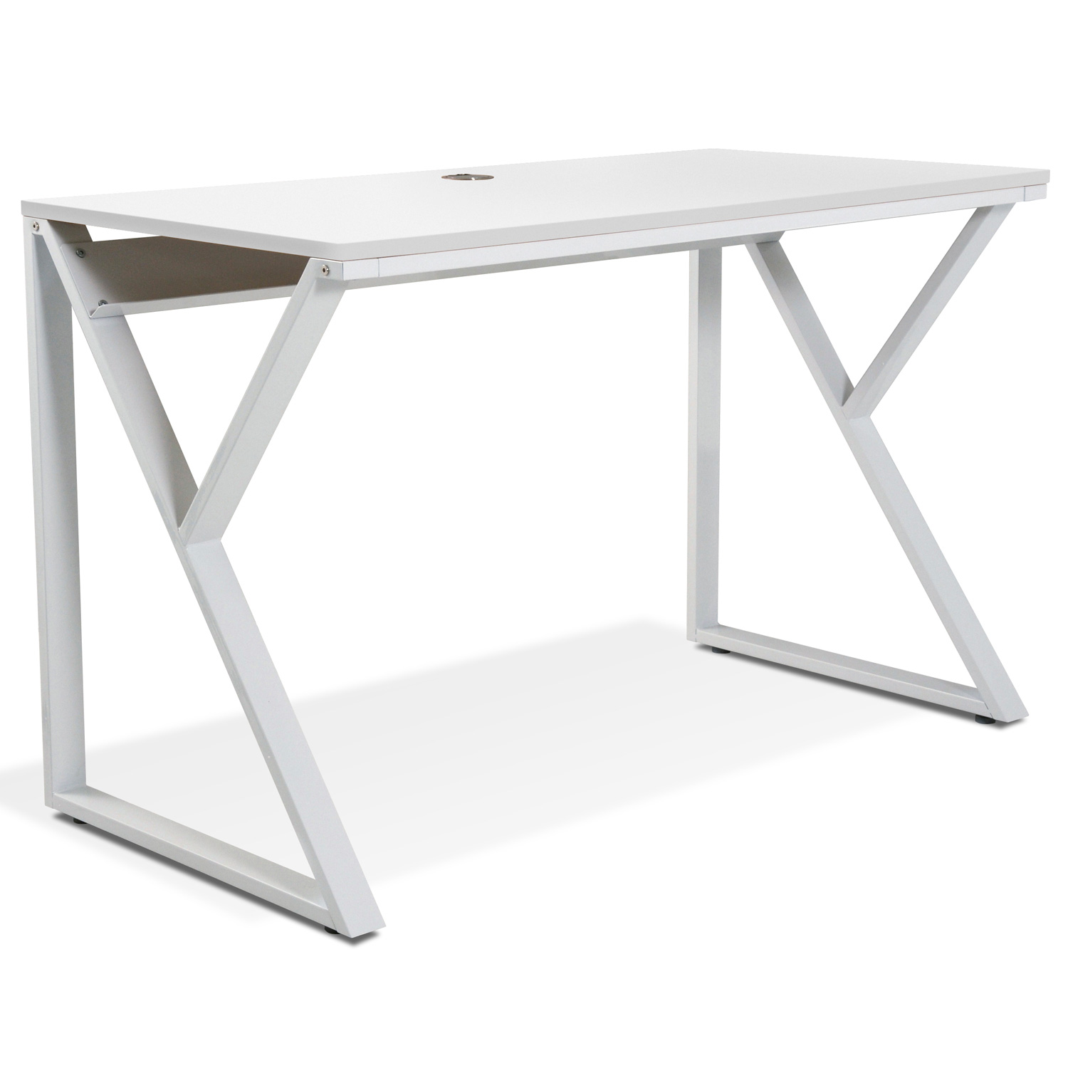 Contemporary Writing Desk - Steel Base, White - UNIQ-X222-WH