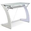 Computer Desk with Keyboard Tray - Glass, White - UNIQ-X225-WH