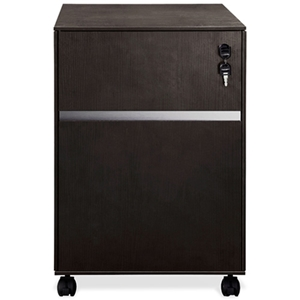 Mobile Locking Pedestal - Espresso, Silver Accent