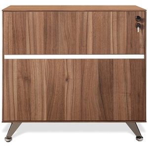 Lateral File Cabinet - Lock, Aluminum Legs, Walnut