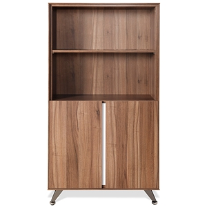 Contemporary Bookcase with Doors - Walnut