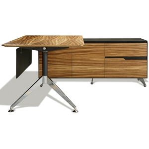 Contemporary Corner Workstation - Right File Credenza, Zebrano & Black