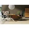 Contemporary Corner Workstation - Right File Credenza, Zebrano & Black - UNIQ-X481-ZE