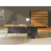Contemporary Corner Workstation - Left File Credenza, Zebrano & Black - UNIQ-X482-ZE