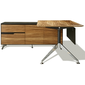 Contemporary Corner Workstation - Left File Credenza, Zebrano & Black