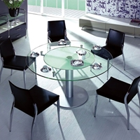 Blanche Round Dining Table with Frosted Glass