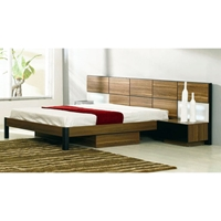 Rondo Brown Wood Modern Bed with Nightstands