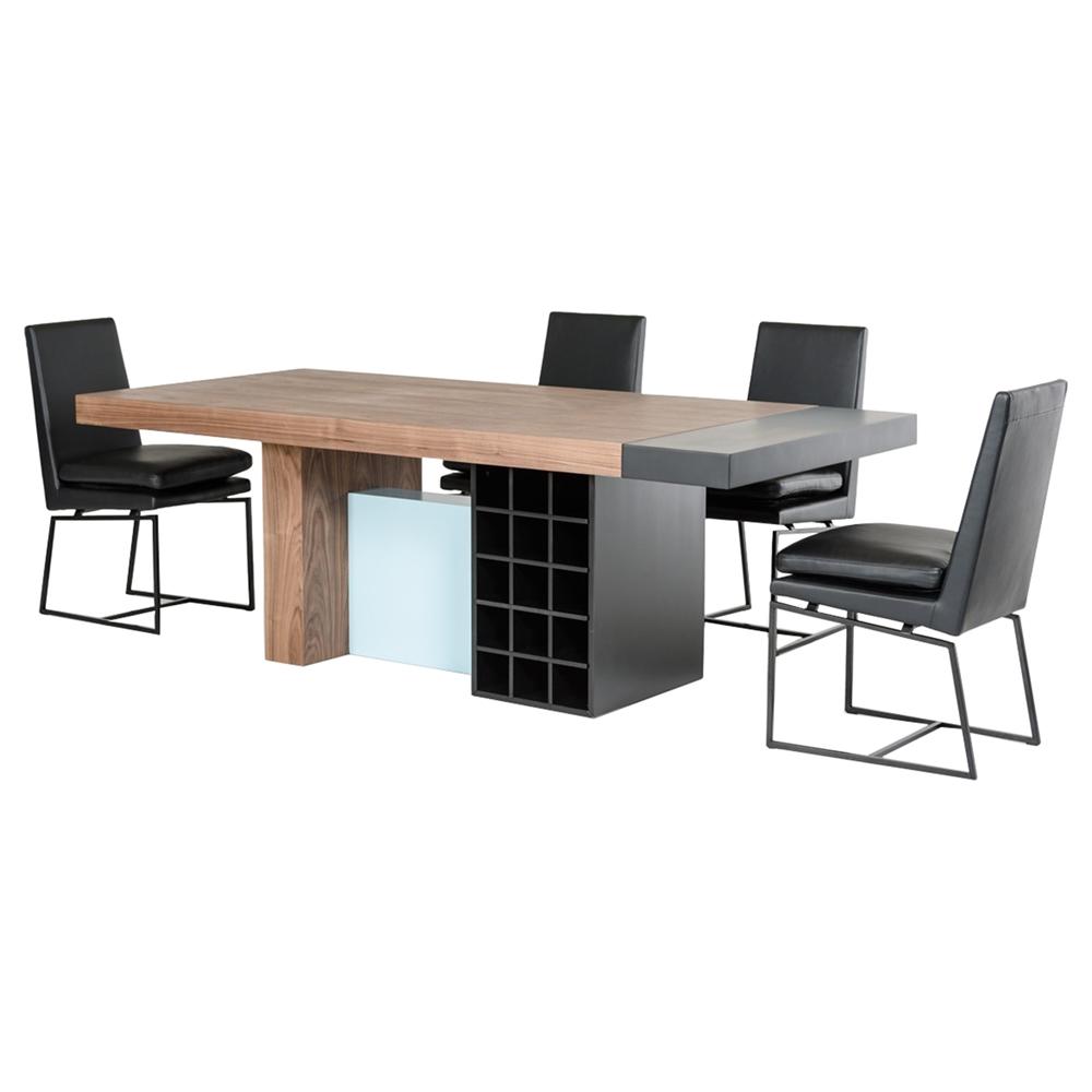 Modrest aegean modern rectangular dining table walnut for Modern rectangular dining table