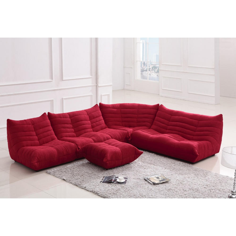Divani Casa Bloom Sectional Sofa Red Dcg Stores