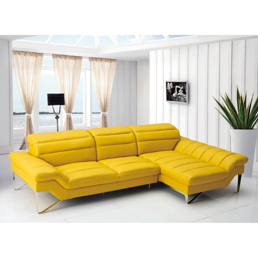 Yellow Leather Sectional Sofa: Divani Casa Leven Sectional Sofa - Yellow