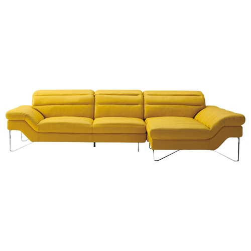 Divani Casa Leven Modern Yellow Leather Sectional Sofa: Divani Casa Leven Sectional Sofa - Yellow