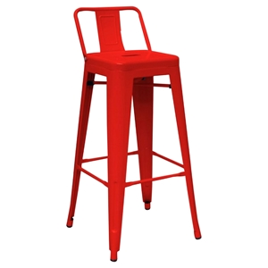 Modrest Dink Modern Metal Counter Stool - Red (Set of 2)