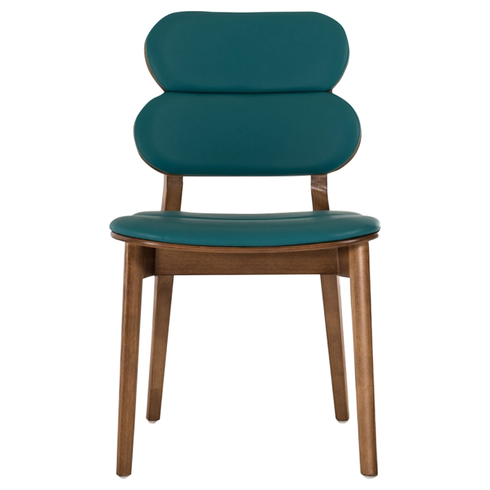 Modrest raeanne dining chair turquoise walnut set of 2 dcg stores - Turquoise upholstered dining chair ...