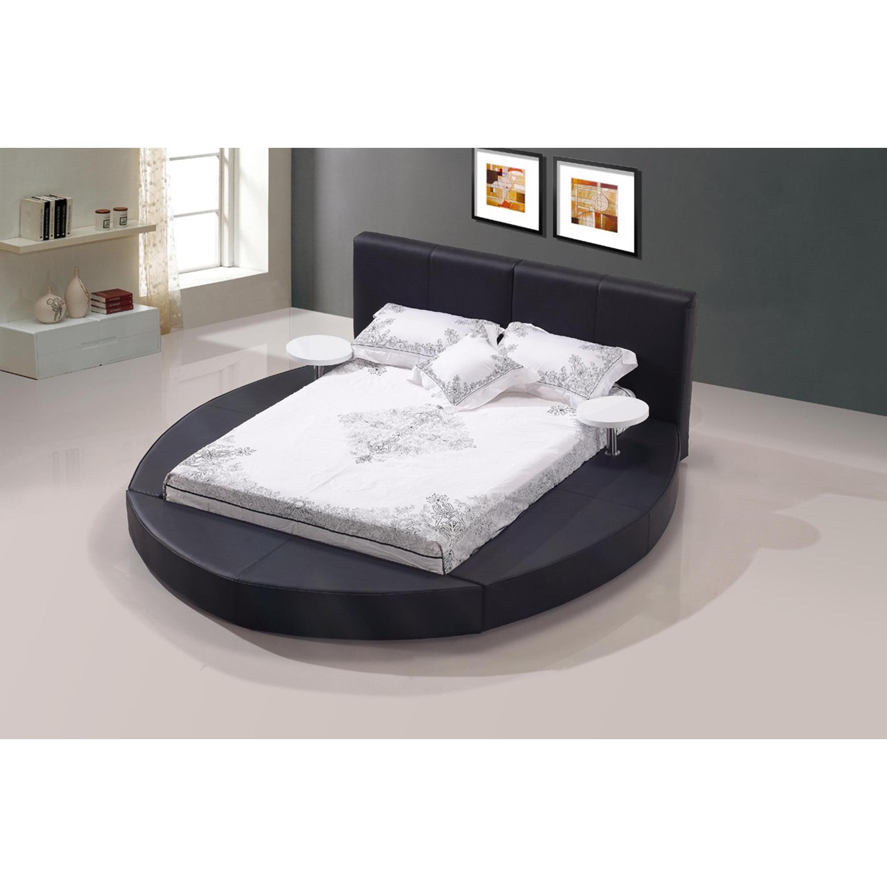 modrest atlas modern bonded leather round bed black dcg stores rh dcgstores com
