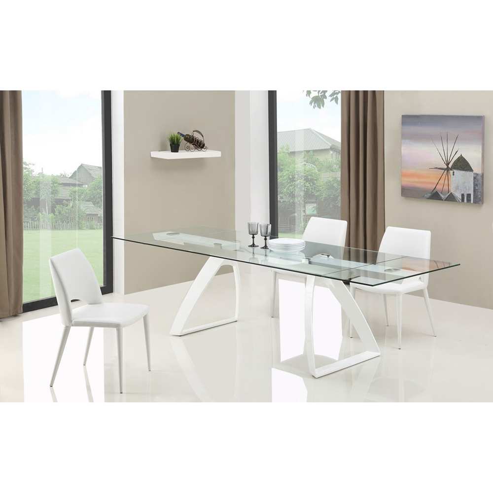 Modrest harvey modern extendable glass dining table for Extendable glass dining table