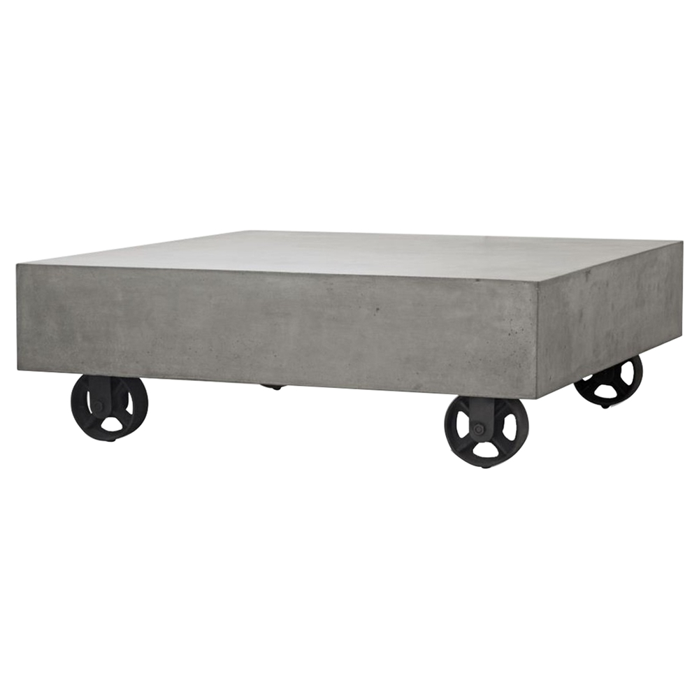 Modrest Darco Rectangular Concrete Coffee Table Wheels Gray And - Rectangular concrete coffee table