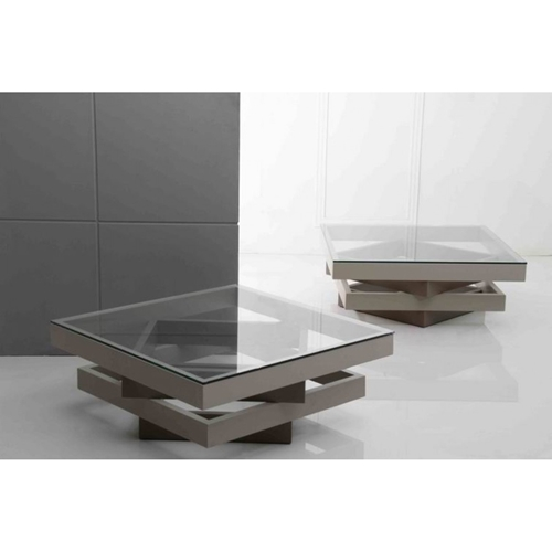 Modrest Upton Modern Square Glass Coffee Table Coffee: Modrest Clay Modern Square Coffee Table - Gray