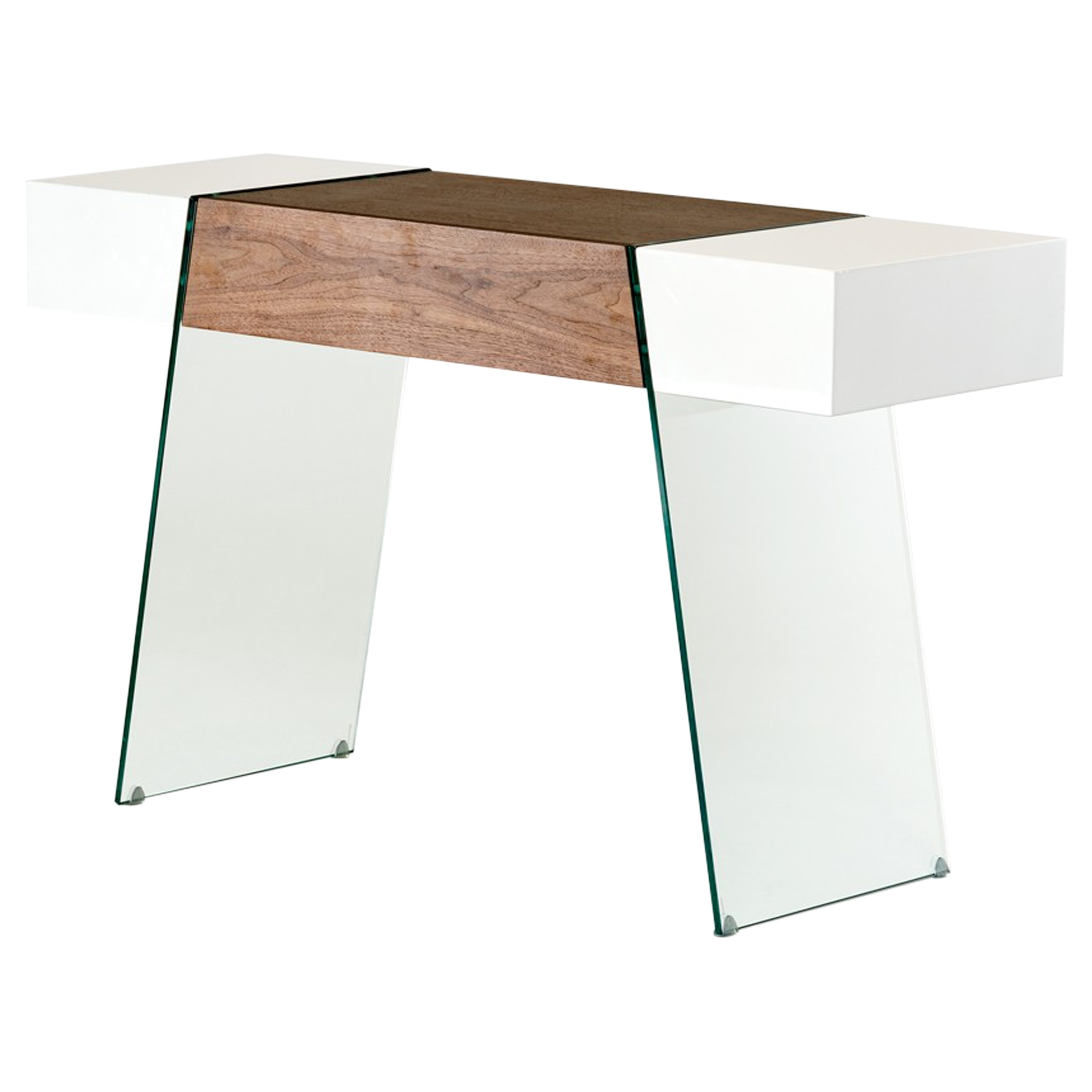 Modrest Sven Console Table   White, Walnut