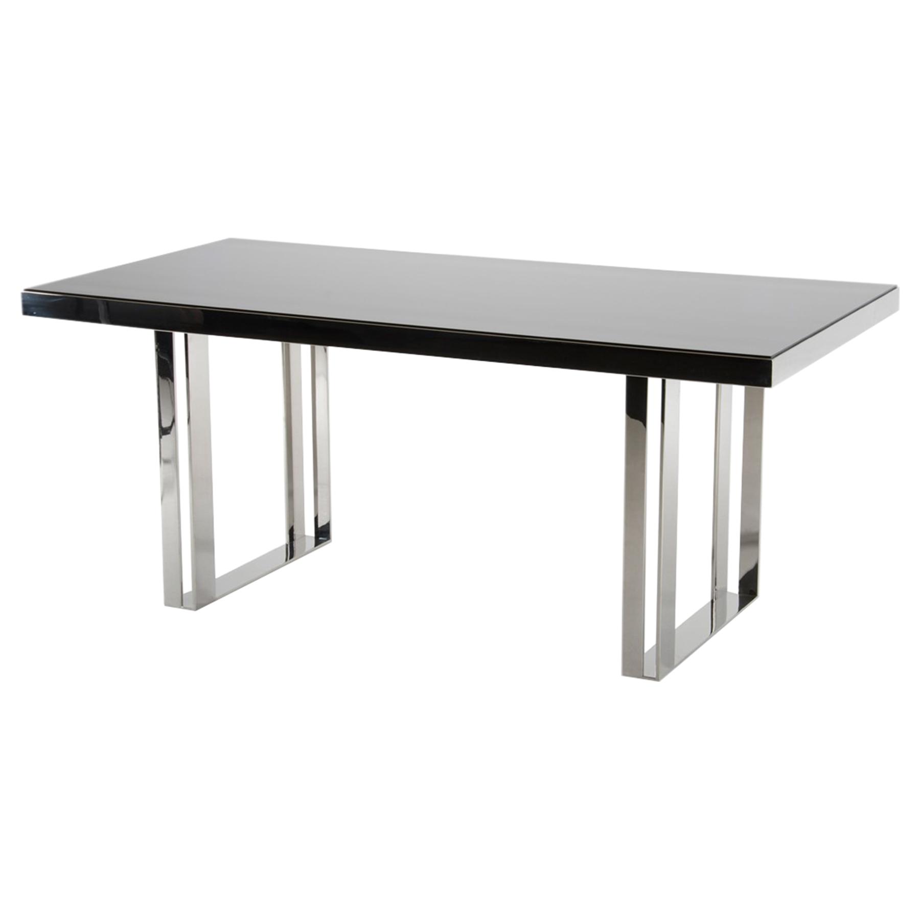 modrest courtland modern rectangular dining table black