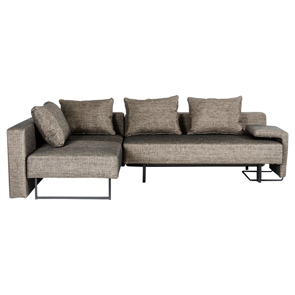 divani casa olympic sofa with chaise brown dcg stores. Black Bedroom Furniture Sets. Home Design Ideas