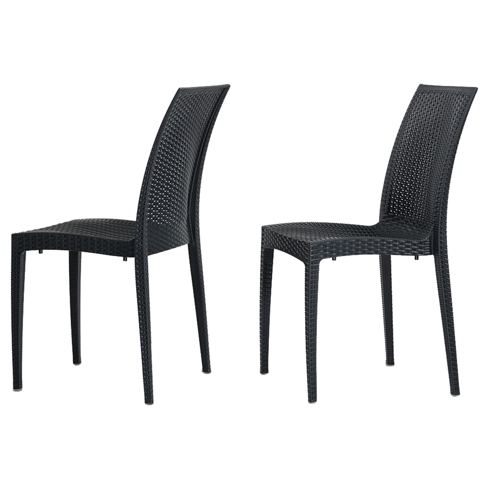 Renava bistrot modern patio dining chair charcoal dcg for Outdoor dining chairs modern