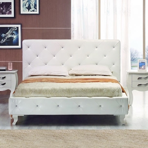 Modrest Monte Carlo Queen Bed with Crystals - White