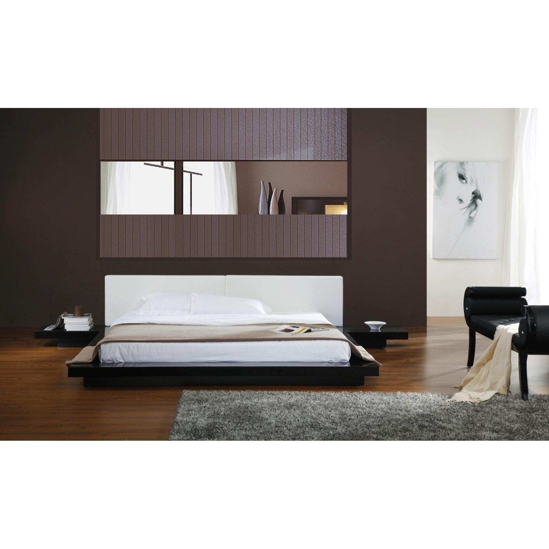 Incroyable Modrest Opal Japanese Style Platform Bed   White, Black Gloss    VIG VGKCOPAL  ...