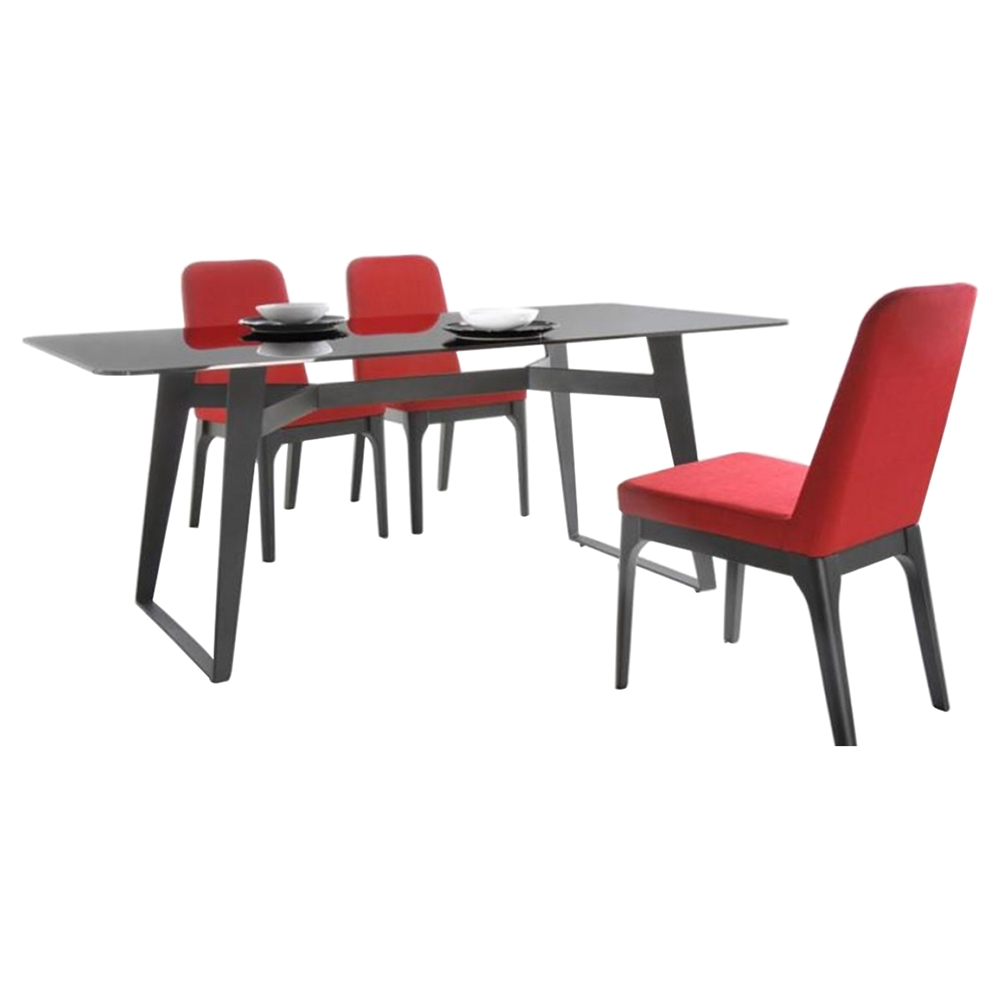 Modrest comet modern fabric dining chair red dcg stores for Red modern dining chairs